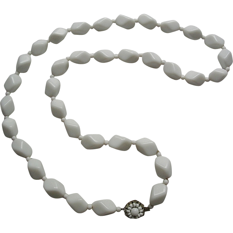 signed Miriam Haskell White Milk Glass Necklace 30""