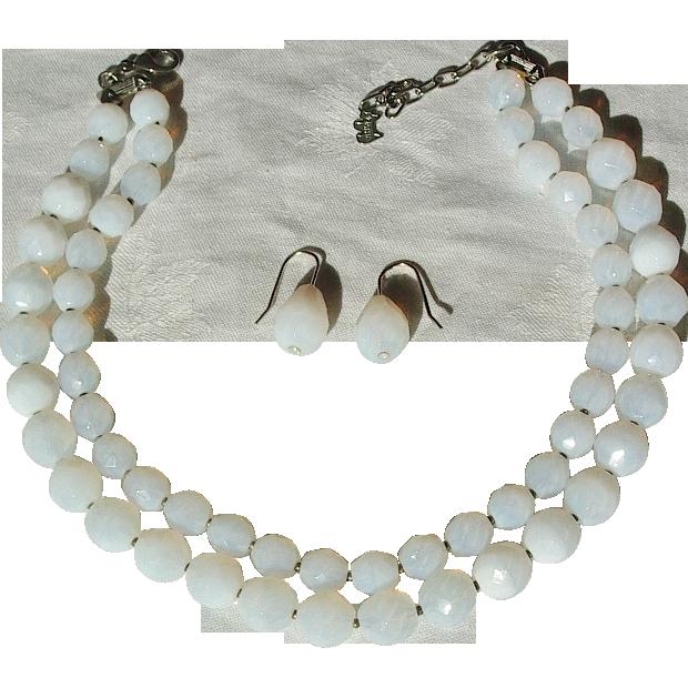 Vintage Agatha Opaline Glass Necklace Earrings