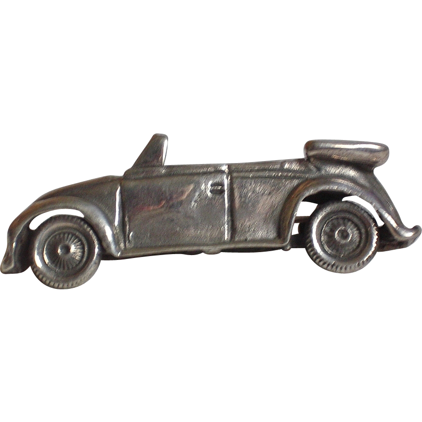 Sterling Silver Figural Vintage Convertible Car Pin Brooch