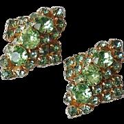 Green Rhinestones Goldtone Domed Clip Earrings