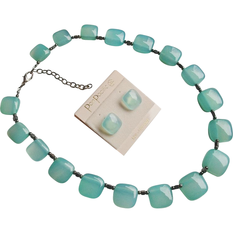 Brazilian Aqua Chalcedony Sterling Necklace Earrings Set