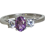 Vintage Amethyst & CZ Sterling Silver Ring size 9