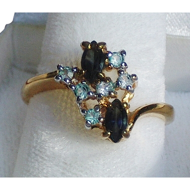18K GF Ring Faux Sapphire & Aquamarine RS -size 8