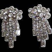 Vintage Clear Rhinestones Clip Back Drop Earrings