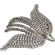 Vintage Pave Rhinestone Flying Bird Brooch