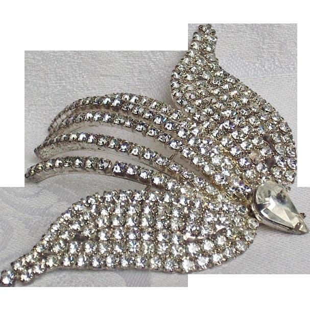 Vintage Pave Rhinestone Flying Bird Brooch