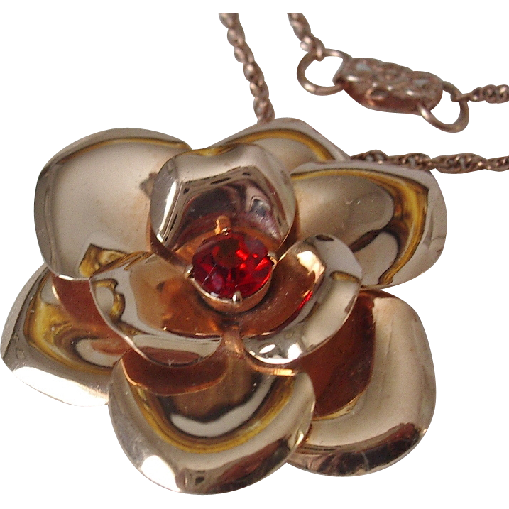 Barclay 1/20 12KT Rose Gold Filled Red Rhinestone Flower Pendant