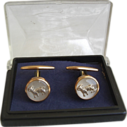 Rose Gold Plated Cufflinks Rams in Lucite
