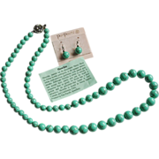 Green Howlite Beaded Necklace Earrings
