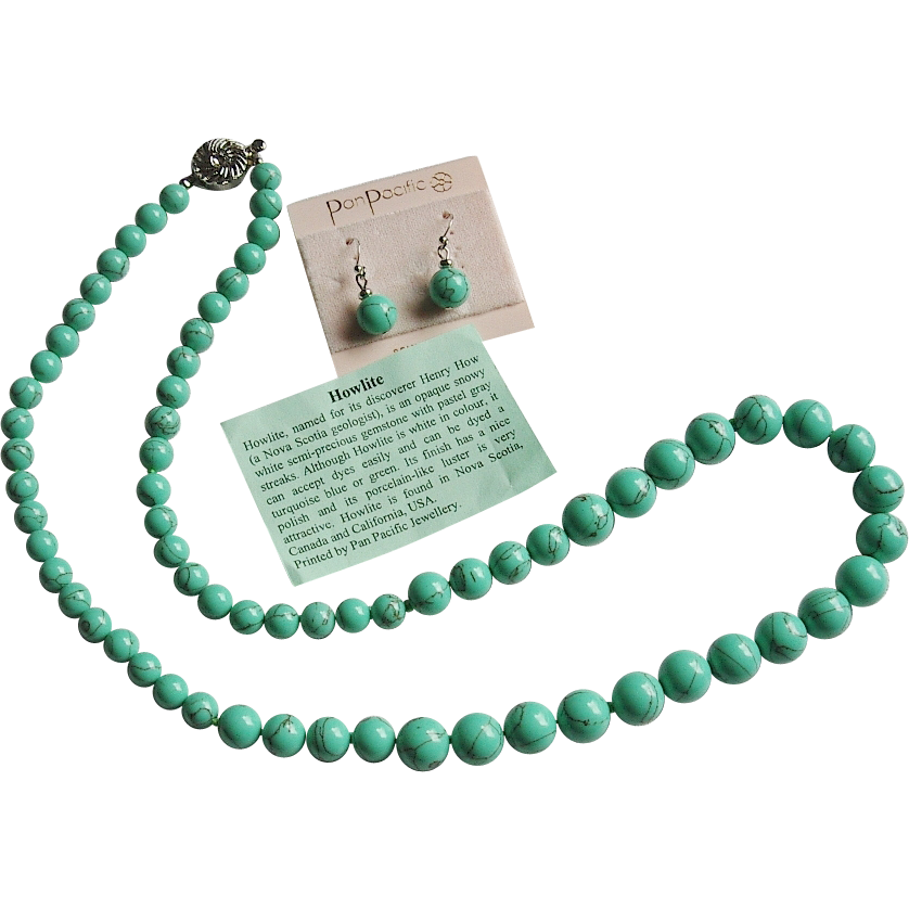 Green Howlite Beaded Necklace Earrings