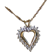 Vintage 10K Two-Tone Gold Diamond Heart Necklace.