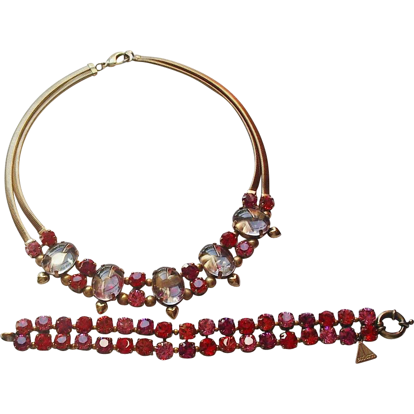 Ermani Bulatti Swarovski Crystal Goldtone Choker Necklace and Bracelet Set