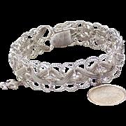 Sterling Link and Mesh Starter Charm Bracelet