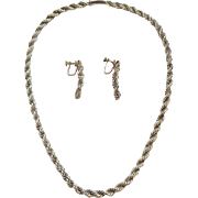 Castelan Mexican Sterling Silver Twisted Rope Necklace & Earrings c. 1960