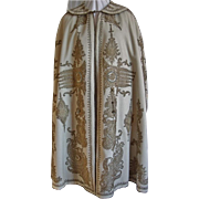 Vintage Gold Thread Embroidered Cream Wool Cape
