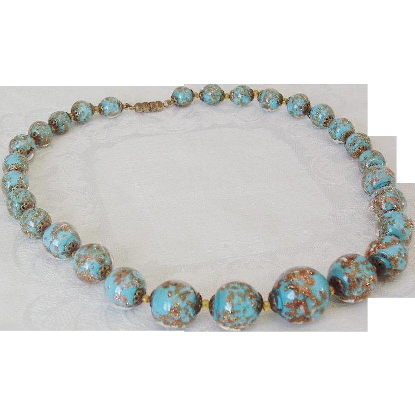 Murano Glass Aqua Blue Choker Necklace