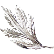 Trifari Silvertone Leaf Brooch- signed