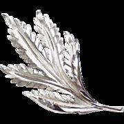 Trifari Silvertone Leaf Brooch- signed