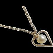 10K Gold Chain Heart Pendant signed ECCO