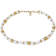 Monet Milk Glass Goldtone Necklace