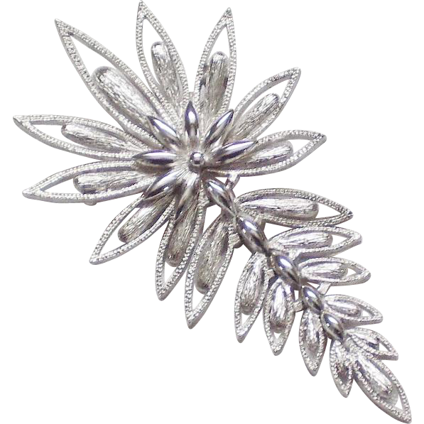 Silvertone Articulated Floral Brooch