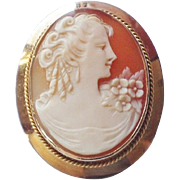 Vintage 10K Gold Carved Shell Cameo Pendant Brooch