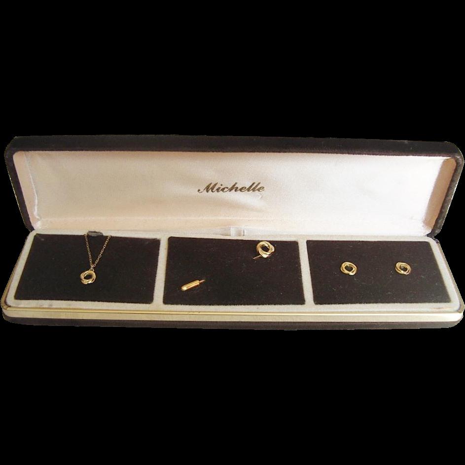 Vintage Vermeil Sterling Silver Necklace Earrings Pin Set