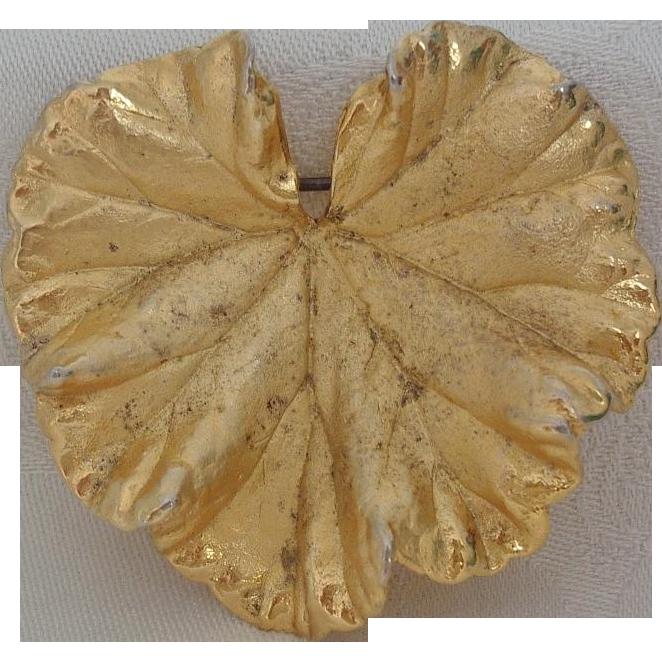 Vintage Napier Vermeil Sterling Figural Leaf Brooch