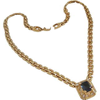 Vintage Nina Ricci Faux Sapphire RS Gold-plated Necklace