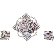 Jay Flex Sterling Banded Agate RS Brooch & Earrings
