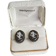 Vintage Wedgwood Black Jasperware Sterling Earrings