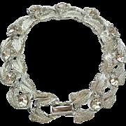 Vintage Coro Rhinestone Rhodium Plated Silvertone Bracelet