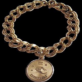 1/20 12K GF Starter Charm Bracelet Aquarius Charm