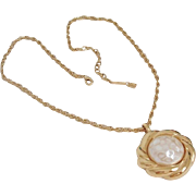 Vintage Nina Ricci Faux Mabe Pearl Gold-plated Pendant Necklace