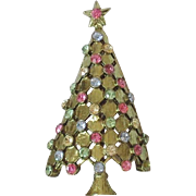 Vintage Green Christmas Tree Brooch