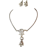 Art Deco Style Rhinestone Coro Necklace and Earrings