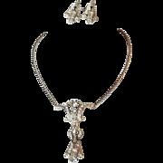 Art Deco Style Rhinestone Coro Necklace and Earrings