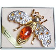 Genuine Amber Queen Bee Brooch or Pendant