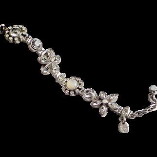 Dyrberg / Kern Denmark Silvertone Floral Link Bracelet