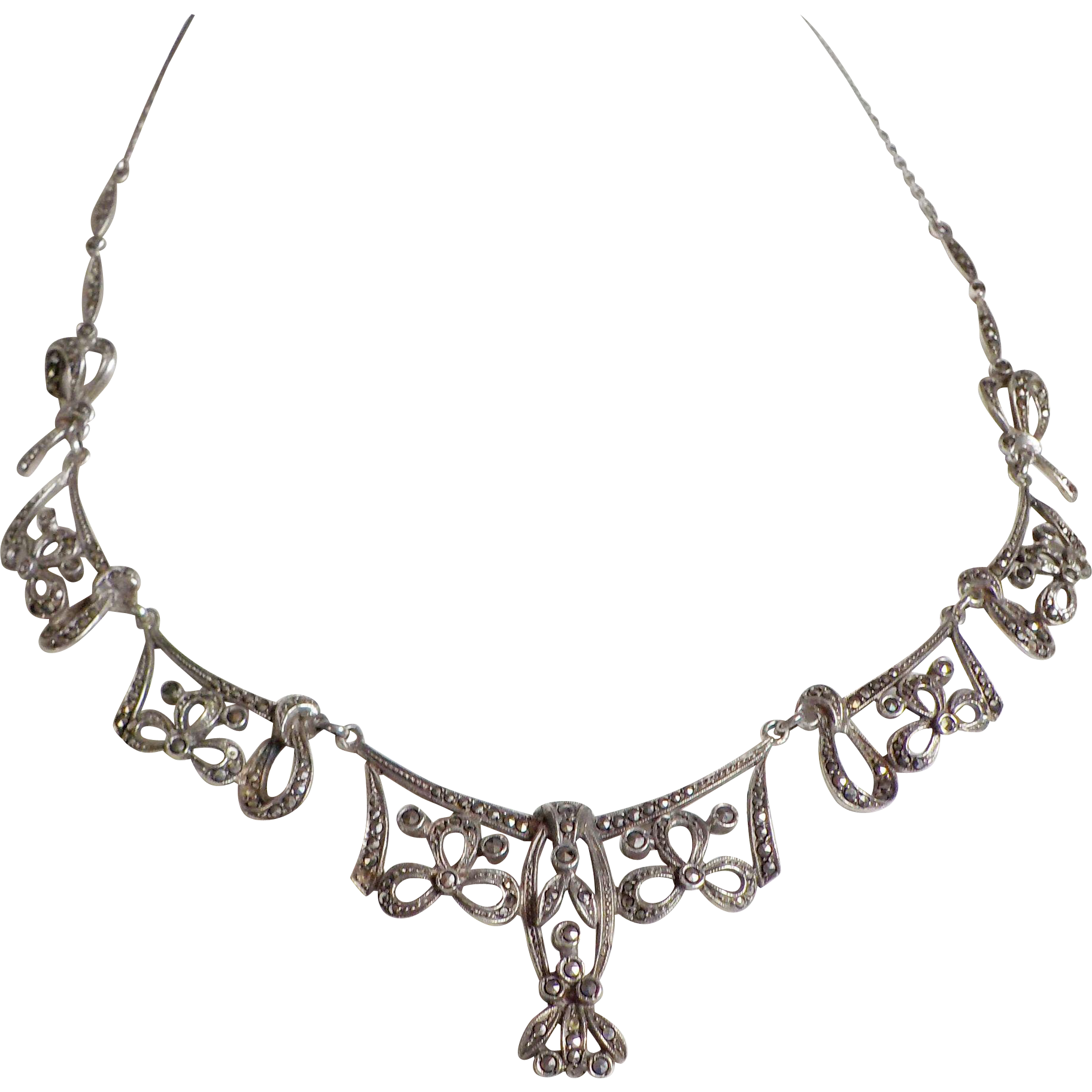 Marcasite & Silver Necklace -Czechoslovakia