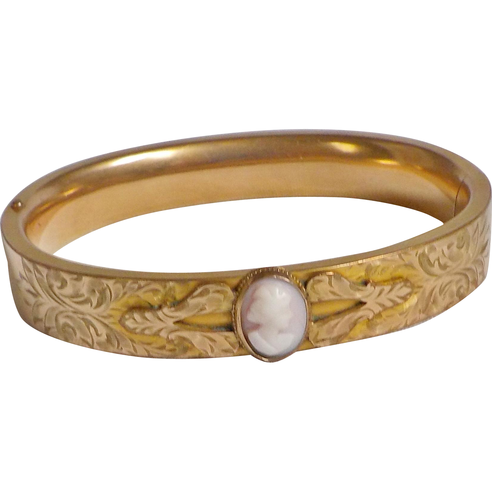 Fremier Victorian 10K Rose Gold Bangle Angel Skin Cameo
