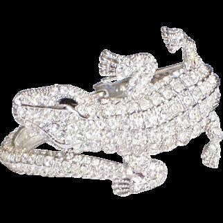 Coiled Alligator Rhinestone Clamper Bracelet