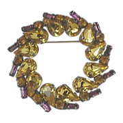 Jay Flex Sterling Citrine and Amethyst Rhinestone Brooch.