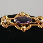 14K Art Nouveau Amethyst Pin