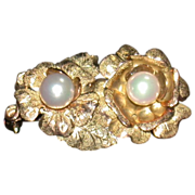 Mid-Century 14K Yellow Gold and Pearl Pin