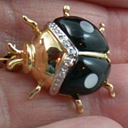 14K Enamel and Diamond Beetle