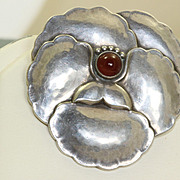 Georg Jensen Brooch #113 with Carnelian Cabochon