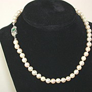 18K Edwardian Pearl Necklace 16""