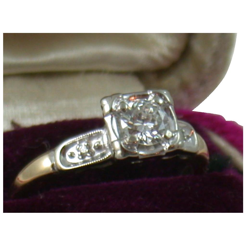 Estate 1940's 14K 0.45CT Diamond Ring