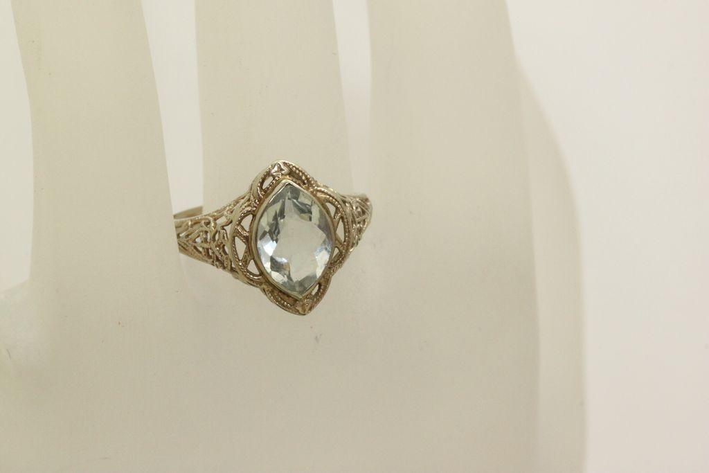 14K Filigree Aqua Ring